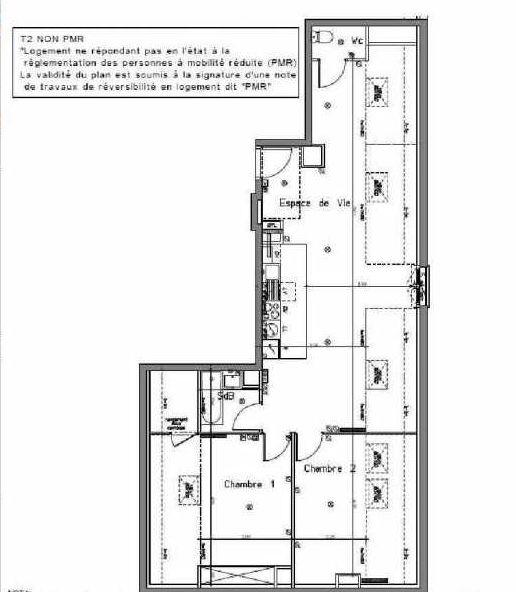 Plan B201, appartement neuf type T3 au 2ème étage, orienté Nord faisant 63m² du programme neuf LE HAMEAU DU ROI à Le Mesnil-le-Roi.