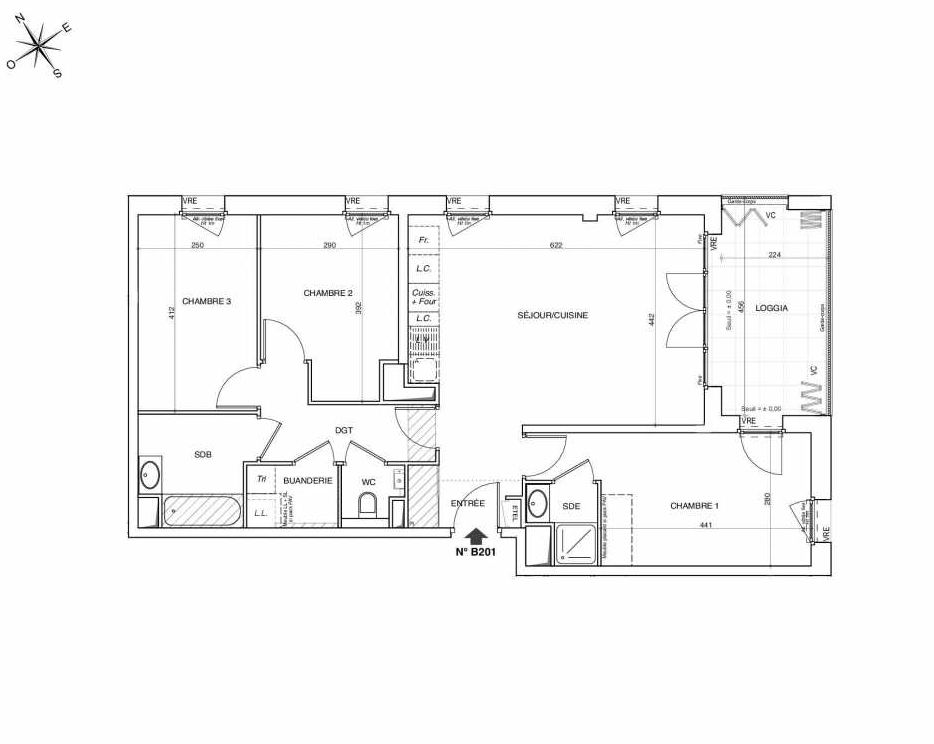Plan B201, appartement neuf type T4 au 2ème étage, faisant 82m² du programme neuf NOVA à Annemasse.