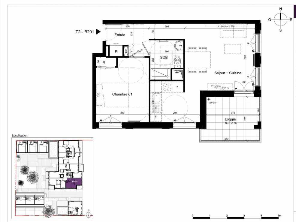 Plan B201, appartement neuf type T2 au 2ème étage, orienté Est faisant 45m² du programme neuf SESAME à Rennes.