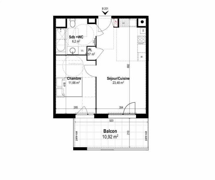 Plan B201, appartement neuf type T2 au 2ème étage, orienté Sud faisant 42m² du programme neuf SUNLODGE à Brignais.