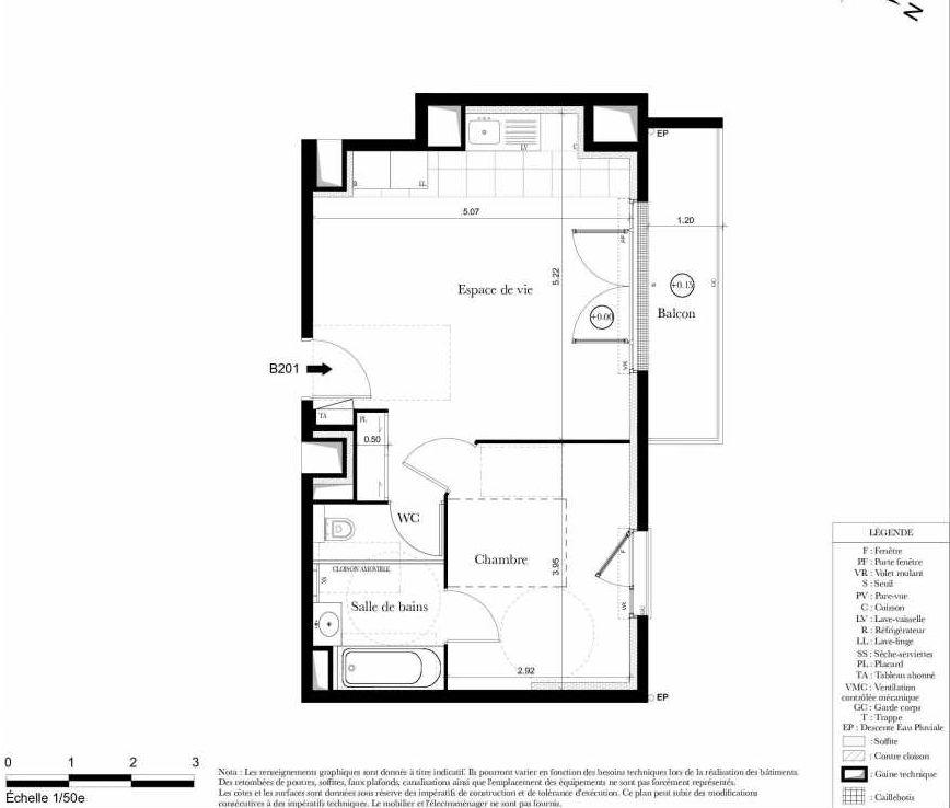 Plan B201, appartement neuf type T2 au 2ème étage, orienté Nord faisant 42m² du programme neuf Symbiose à Bezons.