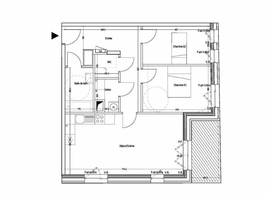 Plan B202, appartement neuf type T3 au 2ème étage, orienté Sud faisant 69m² du programme neuf COLYSEE à Lys-lez-Lannoy.