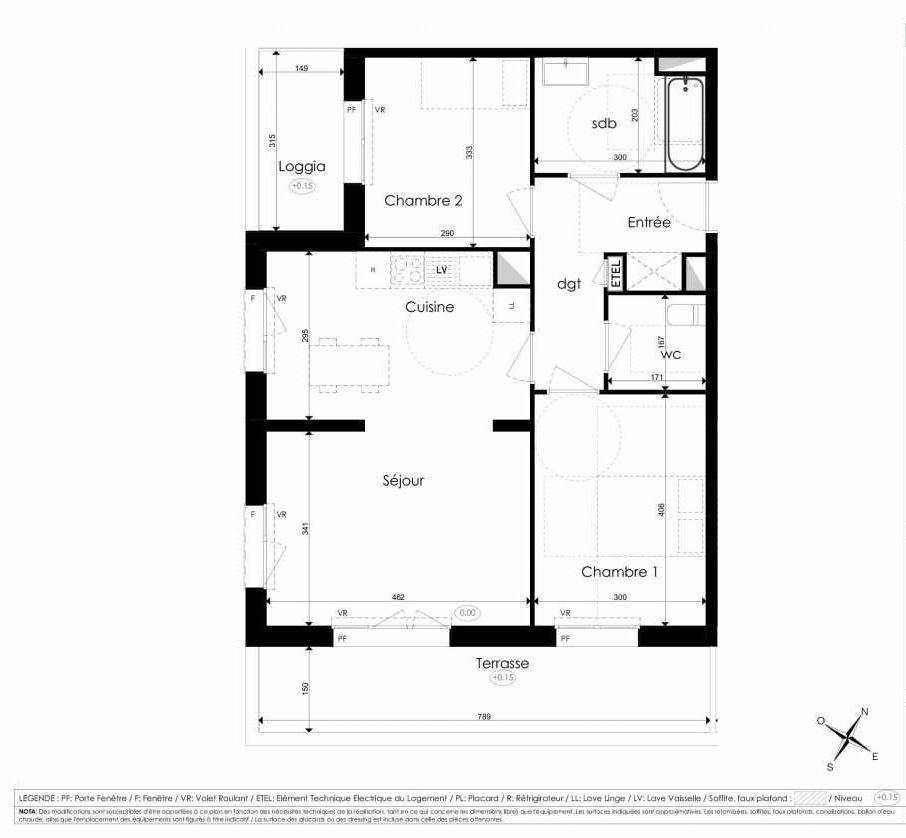 Plan B202, appartement neuf type T3 au 2ème étage, faisant 67m² du programme neuf Les Jardins d'Arc à Amiens.