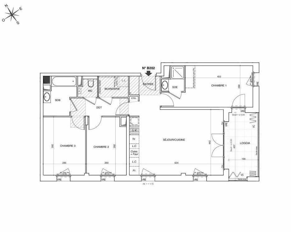 Plan B202, appartement neuf type T4 au 2ème étage, faisant 84m² du programme neuf NOVA à Annemasse.