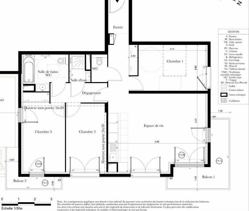 Plan B202, appartement neuf type T4 au 2ème étage, orienté Est faisant 82m² du programme neuf Symbiose à Bezons.