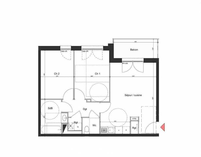 Plan B202, appartement neuf type T3 au 2ème étage, orienté Nord faisant 58m² du programme neuf Villa Bihorel à Bihorel.