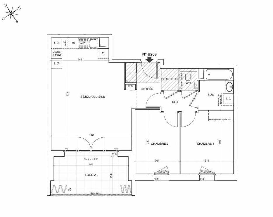 Plan B203, appartement neuf type T3 au 2ème étage, faisant 66m² du programme neuf NOVA à Annemasse.