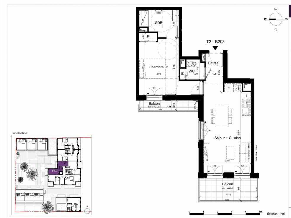 Plan B203, appartement neuf type T2 au 2ème étage, orienté Ouest faisant 45m² du programme neuf SESAME à Rennes.