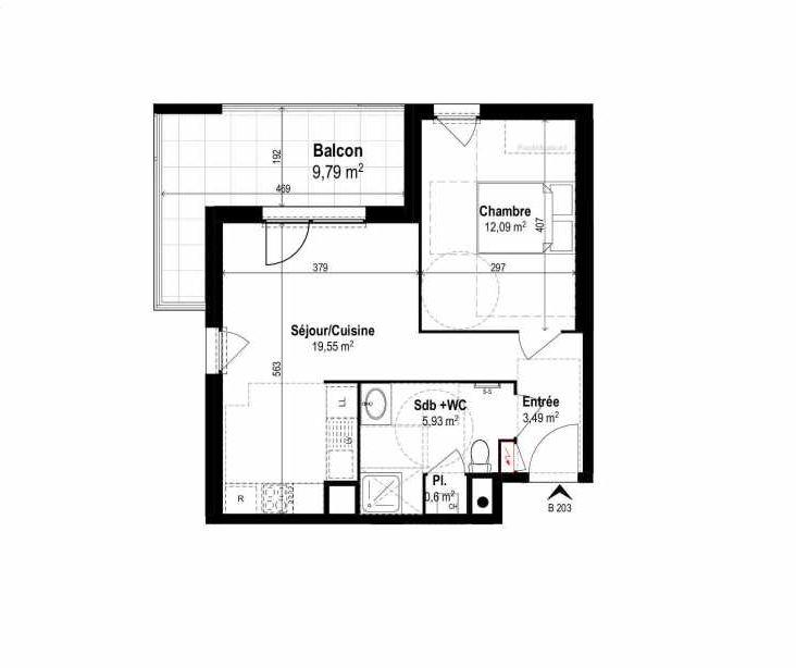 Plan B203, appartement neuf type T2 au 2ème étage, orienté Ouest faisant 42m² du programme neuf SUNLODGE à Brignais.