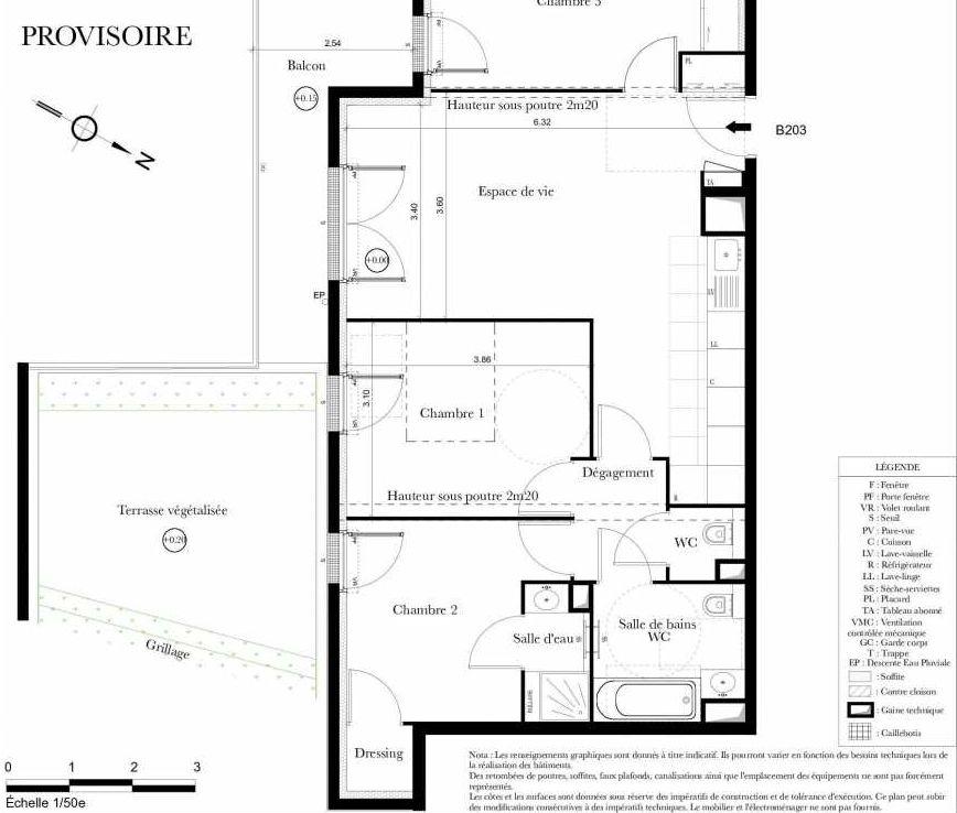 Plan B203, appartement neuf type T4 au 2ème étage, orienté Sud faisant 73m² du programme neuf Symbiose à Bezons.