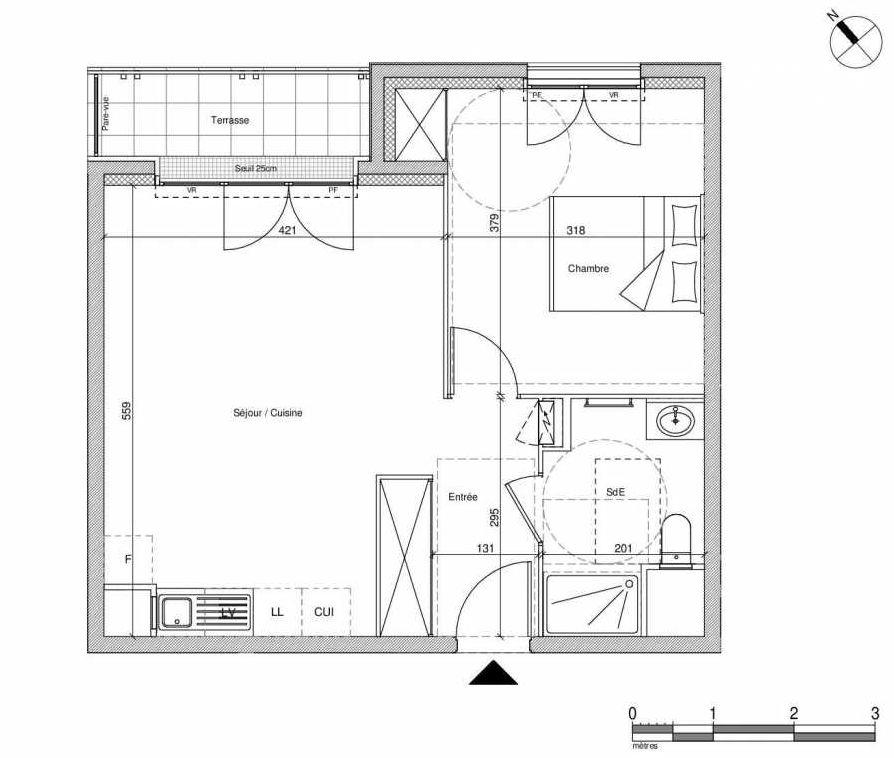 Plan B204, appartement neuf type T2 au Rez de chaussée, faisant 44m² du programme neuf 12 Liberty à Chennevières-sur-Marne.