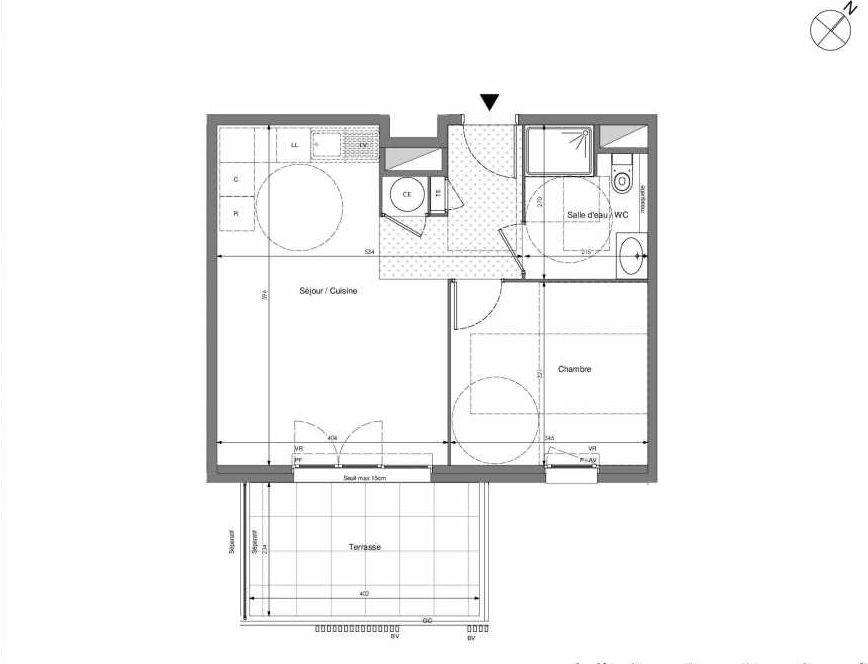 Plan B204, appartement neuf type T2 au 2ème étage, orienté Sud faisant 43m² du programme neuf Impulsion à Marseille.