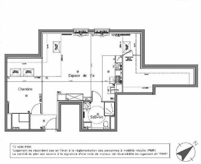 Plan B204, appartement neuf type T2 au 2ème étage, orienté Nord faisant 52m² du programme neuf LE HAMEAU DU ROI à Le Mesnil-le-Roi.