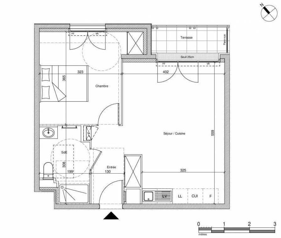Plan B205, appartement neuf type T2 au Rez de chaussée, faisant 43m² du programme neuf 12 Liberty à Chennevières-sur-Marne.