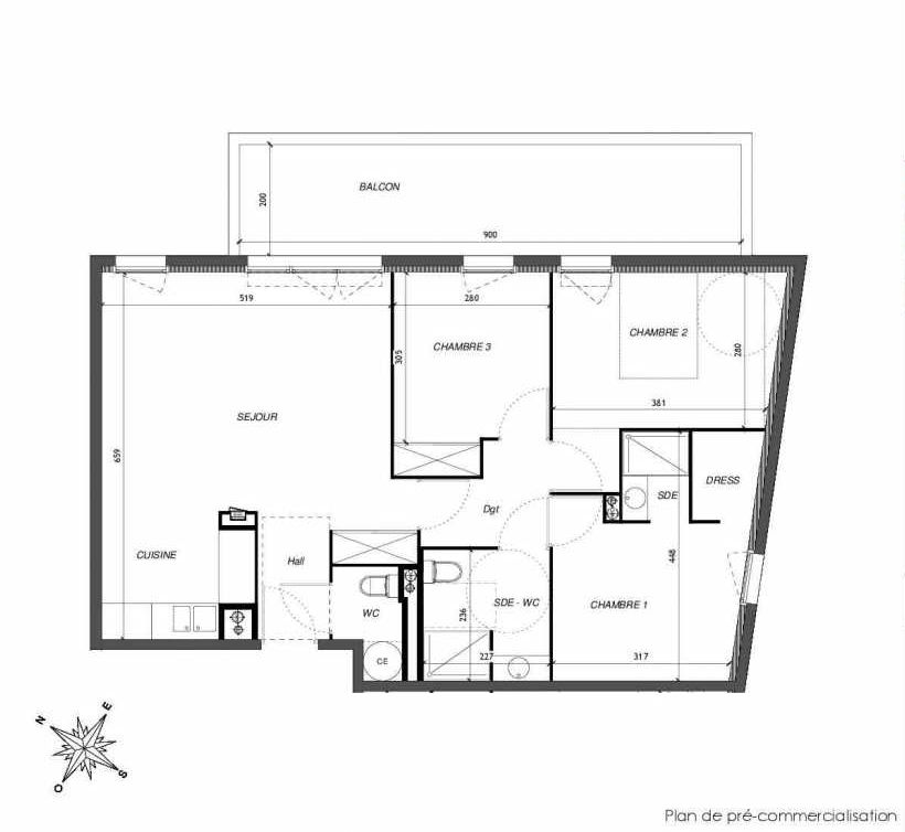 Plan B205, appartement neuf type T4 au 2ème étage, faisant 80m² du programme neuf DOMAINE DES LAURIERS à Montpellier.