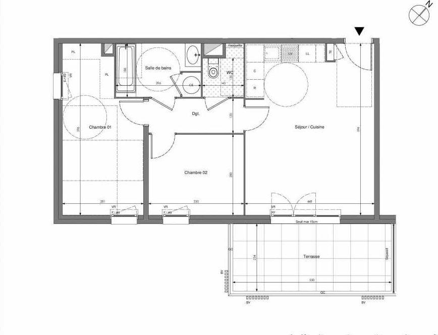 Plan B205, appartement neuf type T3 au 2ème étage, orienté Sud faisant 62m² du programme neuf Impulsion à Marseille.