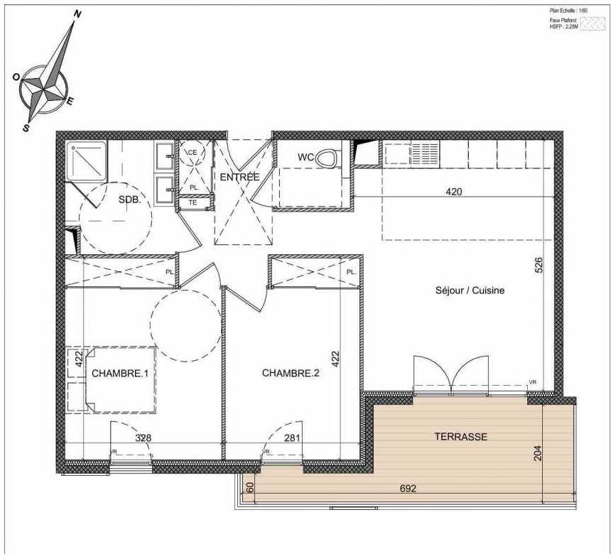 Plan B205, appartement neuf, orienté Sud faisant 60m² du programme neuf Villa Palma à Vallauris.