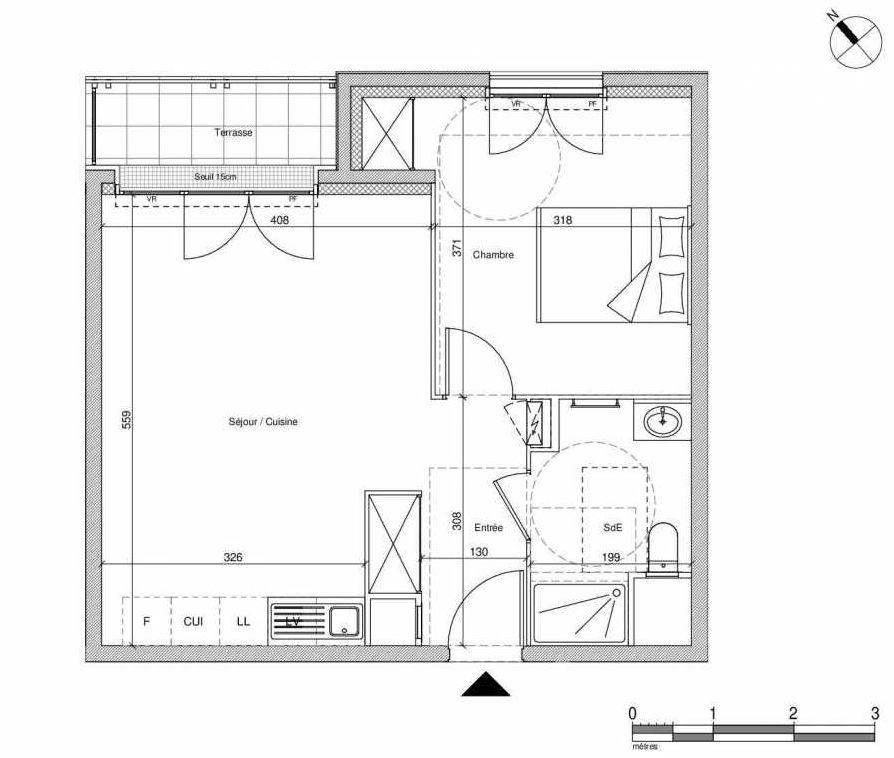 Plan B206, appartement neuf type T2 au Rez de chaussée, faisant 43m² du programme neuf 12 Liberty à Chennevières-sur-Marne.