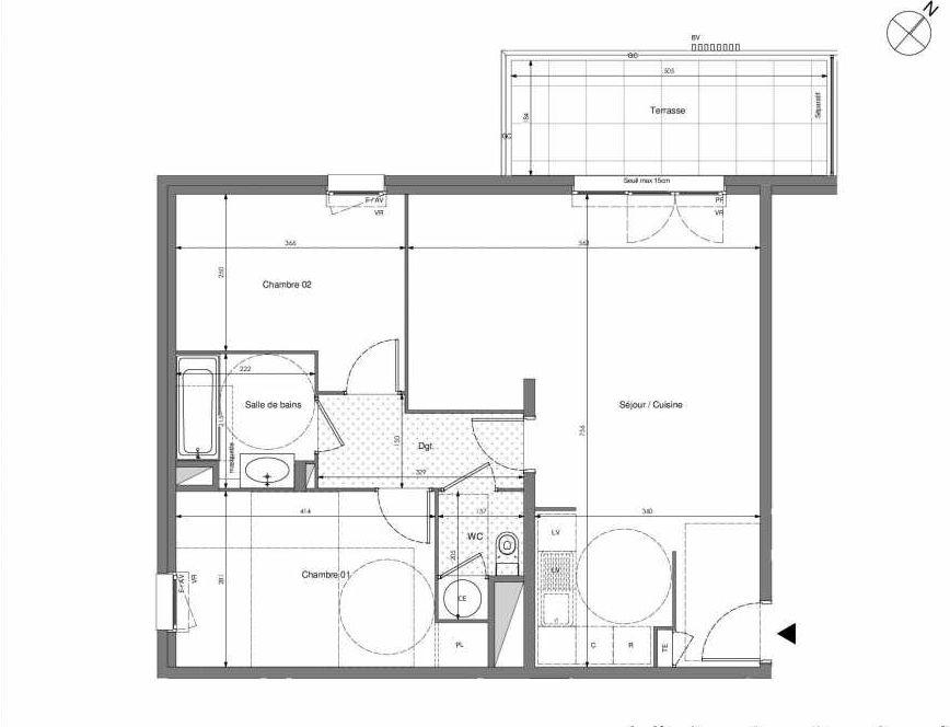 Plan B206, appartement neuf type T3 au 2ème étage, orienté Ouest faisant 67m² du programme neuf Impulsion à Marseille.