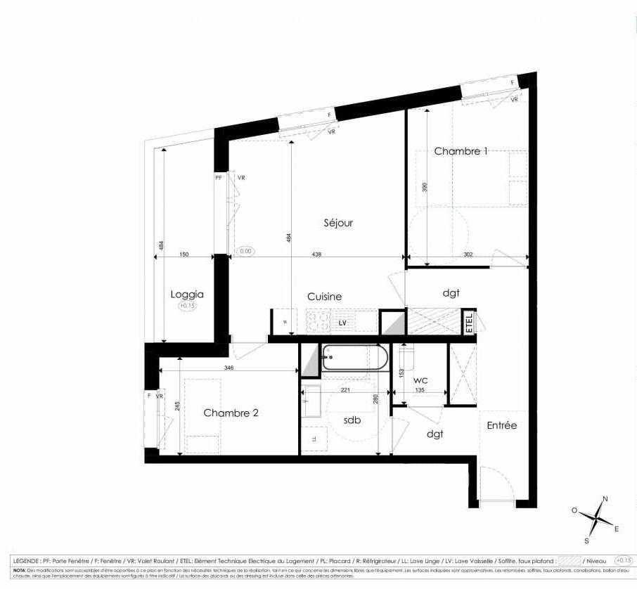 Plan B206, appartement neuf type T3 au 2ème étage, faisant 66m² du programme neuf Les Jardins d'Arc à Amiens.