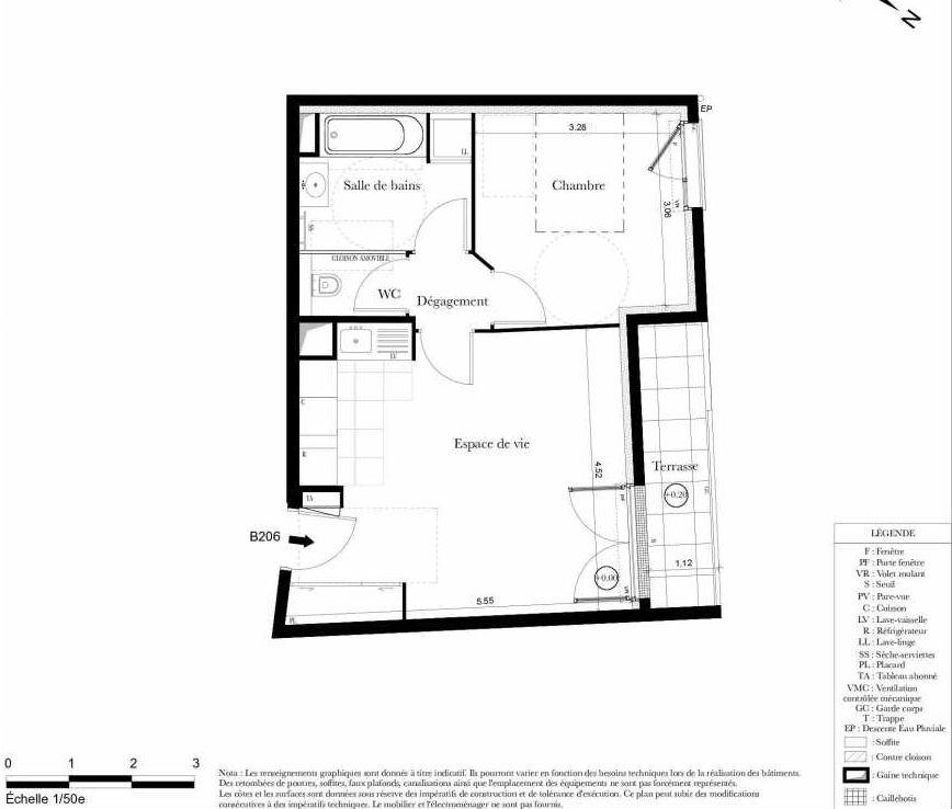 Plan B206, appartement neuf type T2 au 2ème étage, orienté Ouest faisant 43m² du programme neuf Symbiose à Bezons.
