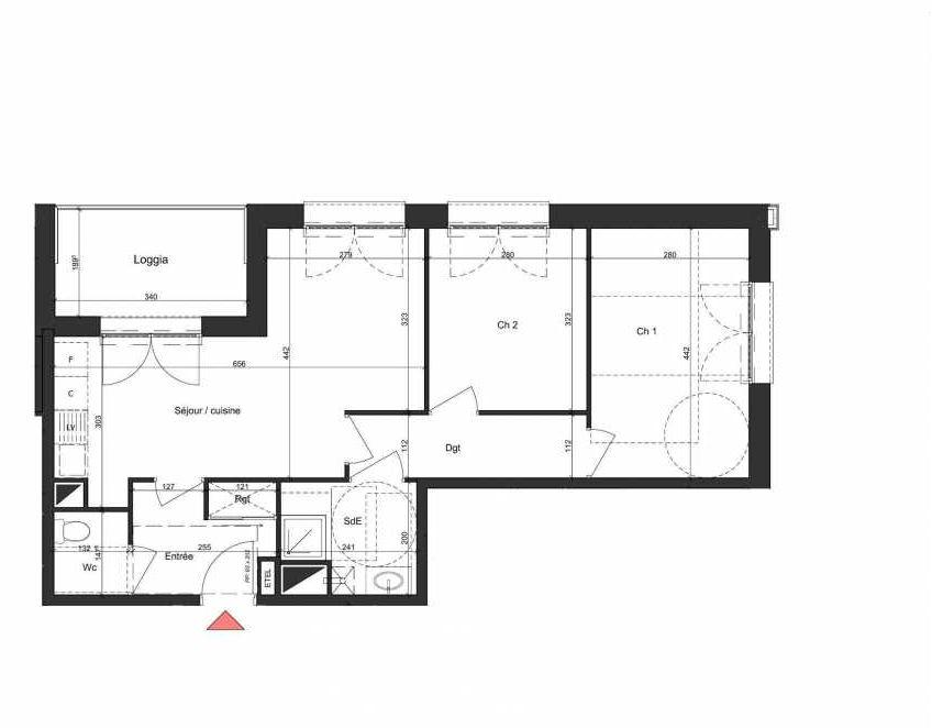 Plan B206, appartement neuf type T3 au 2ème étage, orienté Nord faisant 58m² du programme neuf Villa Bihorel à Bihorel.