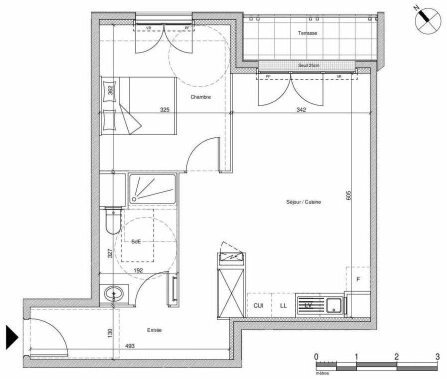 Plan B207, appartement neuf type T2 au Rez de chaussée, faisant 48m² du programme neuf 12 Liberty à Chennevières-sur-Marne.