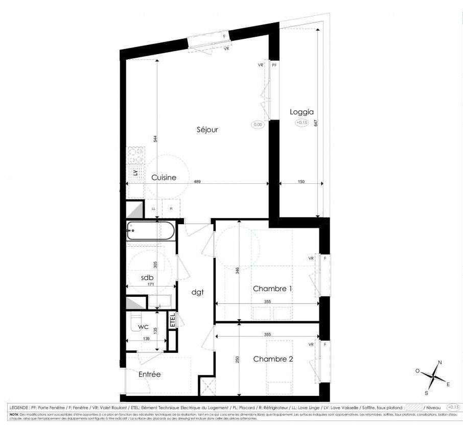 Plan B207, appartement neuf type T3 au 2ème étage, faisant 65m² du programme neuf Les Jardins d'Arc à Amiens.