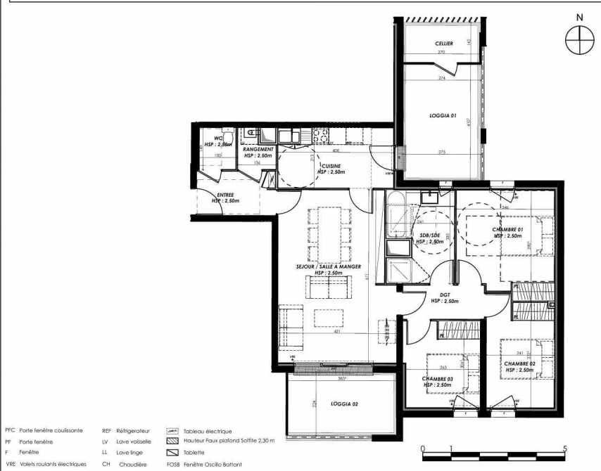 Plan B207, appartement neuf type T4 au 2ème étage, orienté Sud faisant 82m² du programme neuf Pierre 1er Héritage à Le Bouscat.