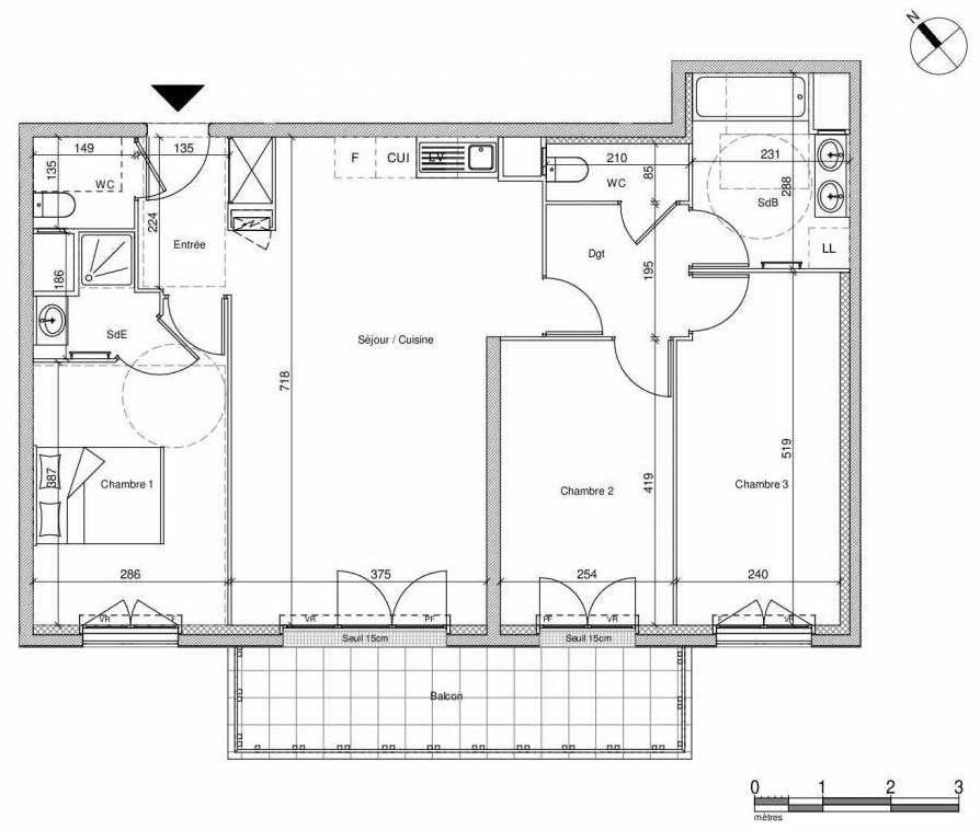 Plan B208, appartement neuf type T4 au Rez de chaussée, faisant 83m² du programme neuf 12 Liberty à Chennevières-sur-Marne.