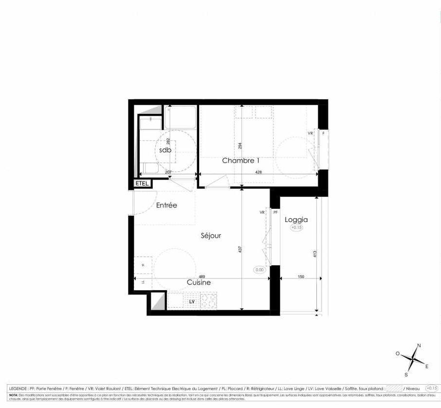 Plan B208, appartement neuf type T2 au 2ème étage, faisant 39m² du programme neuf Les Jardins d'Arc à Amiens.