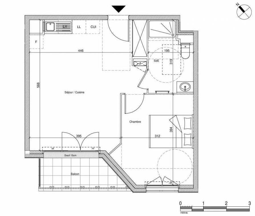 Plan B209, appartement neuf type T2 au Rez de chaussée, faisant 43m² du programme neuf 12 Liberty à Chennevières-sur-Marne.