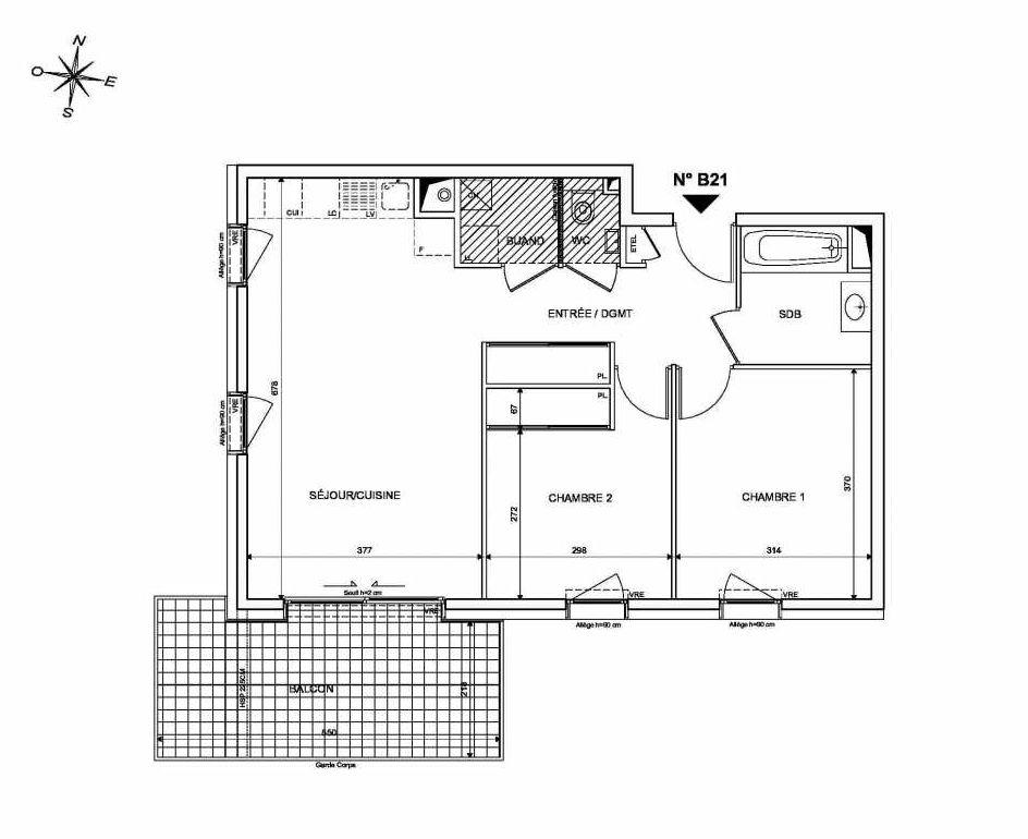 Plan B21, appartement neuf type T3 au 2ème étage, orienté Sud faisant 62m² du programme neuf INFINITY à Publier.