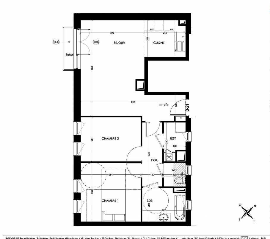 Plan B21, appartement neuf type T3 au 2ème étage, orienté Sud faisant 65m² du programme neuf La Closeraie à Villeneuve-d'Ascq.