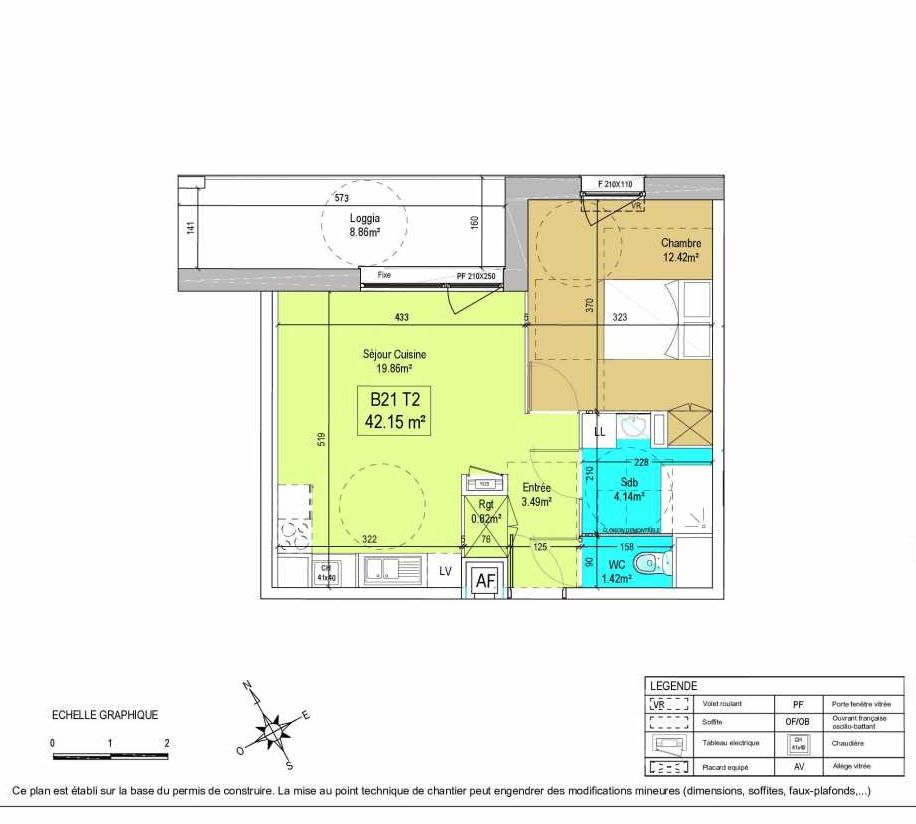 Plan B21, appartement neuf type T2 au 2ème étage, orienté Nord faisant 42m² du programme neuf LA CREATIVE à Tourcoing.