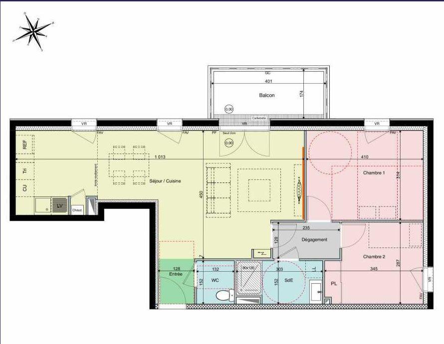 Plan B21, appartement neuf type T3 au 2ème étage, orienté Ouest faisant 68m² du programme neuf Les Hauts de Brimberne à Sautron.