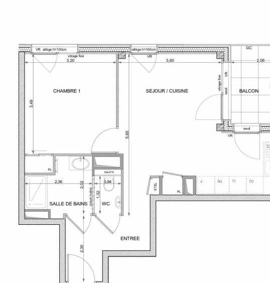 Plan recadré du lot neuf du programme neuf Magnolia