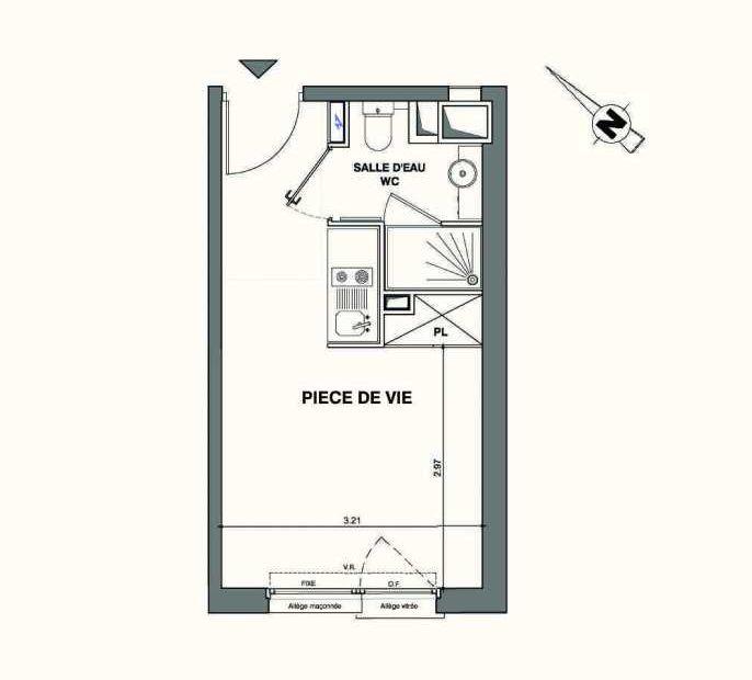 Plan B211, appartement neuf type T1 au 2ème étage, faisant 19m² du programme neuf Kaiman - Nimes à Nîmes.