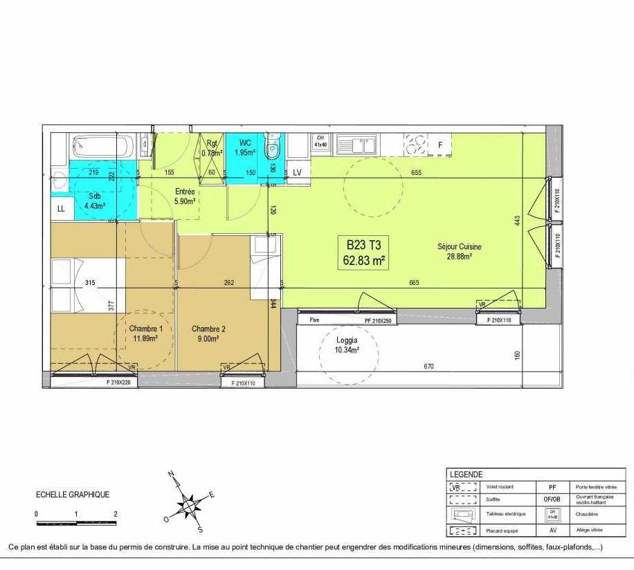 Plan B23, appartement neuf type T3 au 2ème étage, orienté Sud faisant 63m² du programme neuf LA CREATIVE à Tourcoing.