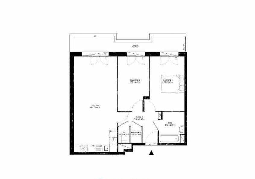 Plan B23, appartement neuf type T3 au 2ème étage, faisant 64m² du programme neuf Place Jacob à Livry-Gargan.