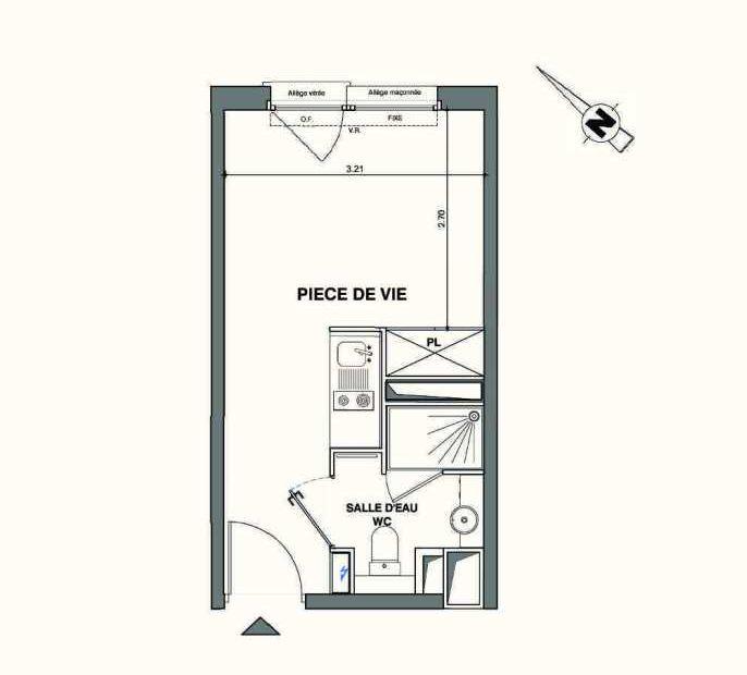 Plan B230, appartement neuf type T1 au 2ème étage, faisant 18m² du programme neuf Kaiman - Nimes à Nîmes.