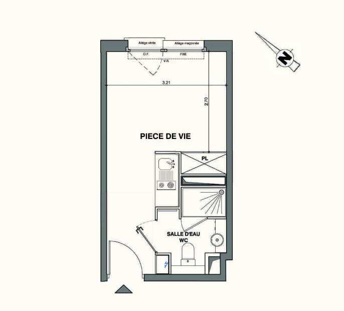 Plan B231, appartement neuf type T1 au 2ème étage, faisant 18m² du programme neuf Kaiman - Nimes à Nîmes.