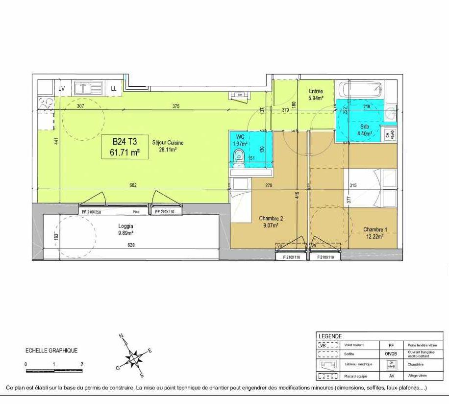 Plan B24, appartement neuf type T3 au 2ème étage, orienté Sud faisant 62m² du programme neuf LA CREATIVE à Tourcoing.