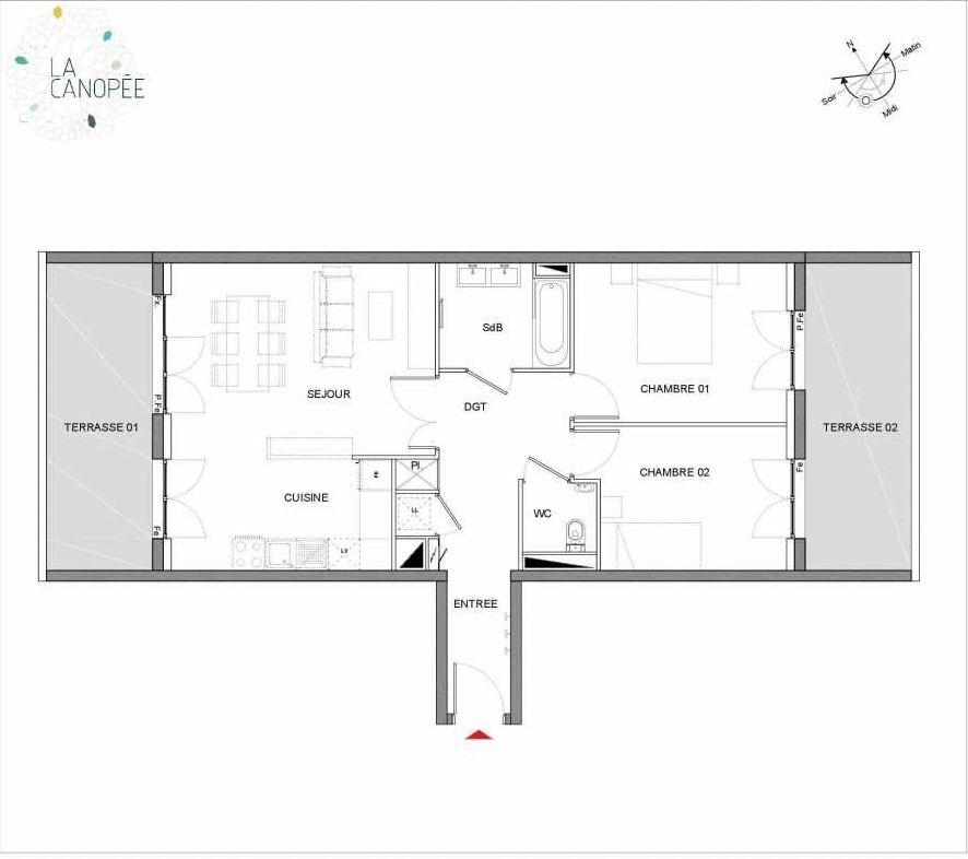 Plan B28, appartement neuf type T3 au 2ème étage, orienté Est faisant 67m² du programme neuf La Canopée à Amiens.