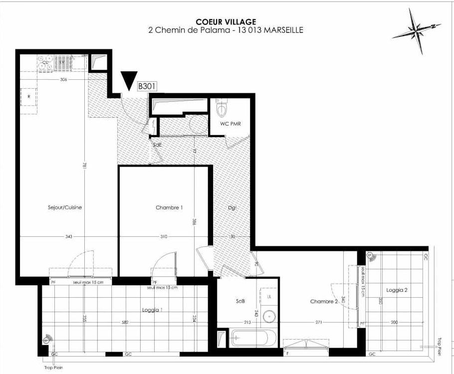 Plan B301, appartement neuf type T3 au 3ème étage, orienté Est faisant 67m² du programme neuf Coeur Village à Marseille.