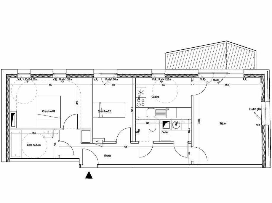 Plan B301, appartement neuf type T3 au 2ème étage, orienté Sud faisant 71m² du programme neuf COLYSEE à Lys-lez-Lannoy.
