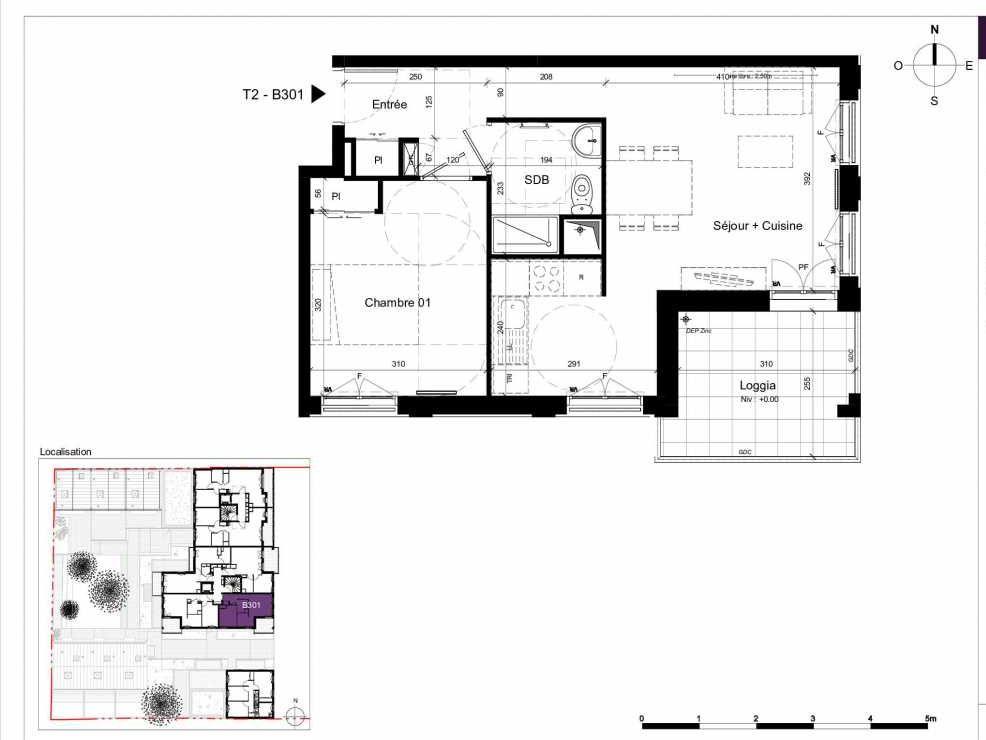 Plan B301, appartement neuf type T2 au 3ème étage, orienté Est faisant 45m² du programme neuf SESAME à Rennes.