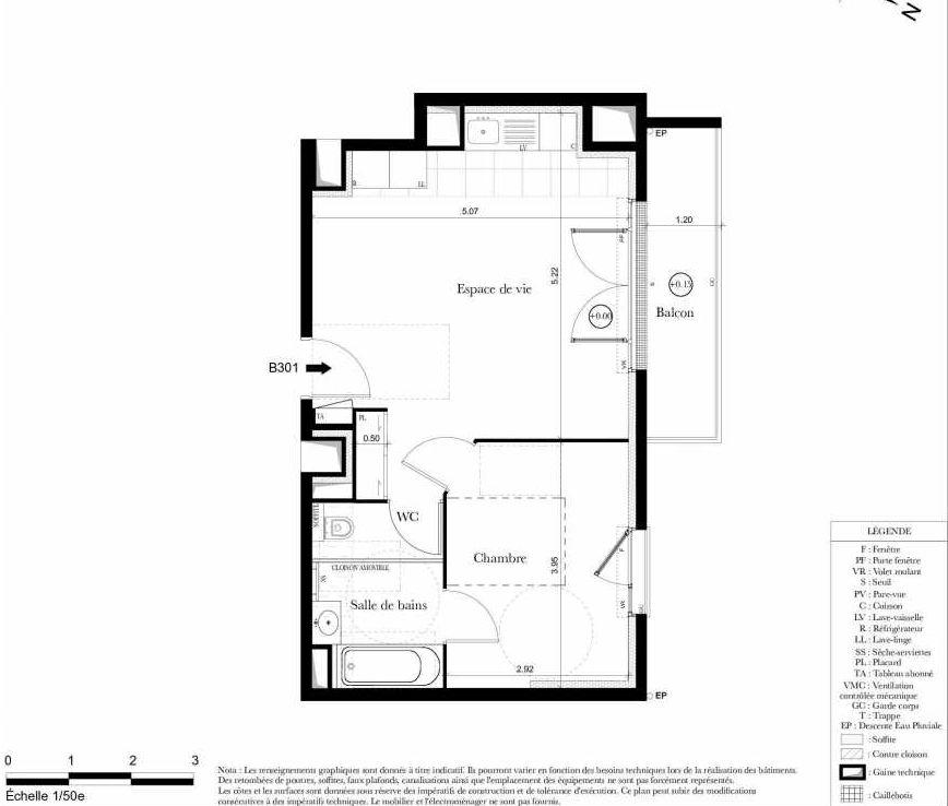 Plan B301, appartement neuf type T2 au 3ème étage, orienté Nord faisant 42m² du programme neuf Symbiose à Bezons.