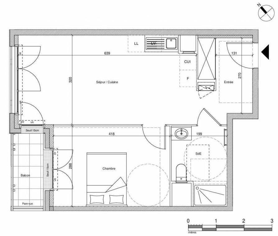 Plan B302, appartement neuf type T2 au Rez de chaussée, faisant 42m² du programme neuf 12 Liberty à Chennevières-sur-Marne.