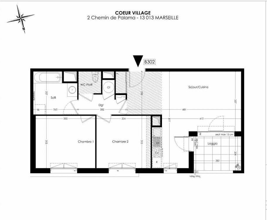Plan B302, appartement neuf type T3 au 3ème étage, orienté Nord faisant 61m² du programme neuf Coeur Village à Marseille.